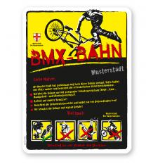 Spielplatzschild BMX - Bahn 4P-gelb - DS