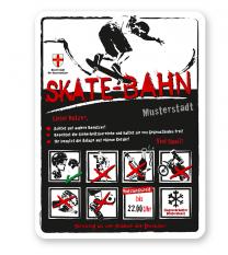 Spielplatzschild Skate-Bahn 8P-weiß - DS