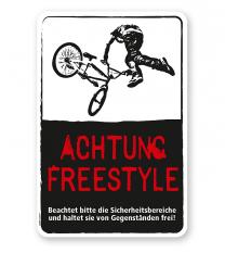Schild Achtung, Freestyle - DS