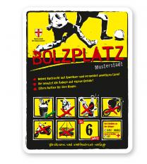 Bolzplatzschild Bolzplatz 8P-gelb - DS