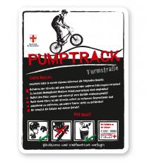 Spielplatzschild Pumptrack 01 - weiß - DS