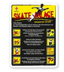 Spielplatzschild Skate-Anlage mit Verhaltenshinweisen 8P - gelb - DS