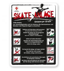 Spielplatzschild Skate-Anlage mit Verhaltenshinweisen 8P - weiß - DS