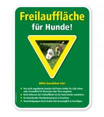 Schild Freilauffläche für Hunde mit Hinweisen – G/GW