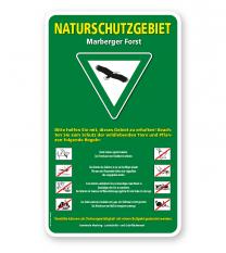 Schild Naturschutzgebiet mit Verkehrszeichen und Piktogrammen - 2 – G/GW