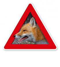 Verkehrsschild Achtung, Fuchs - Fuchsbandwurm, Wildtollwut