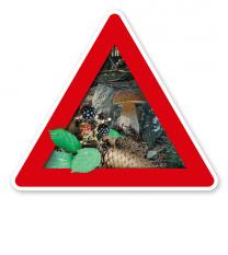 Verkehrsschild Achtung, Pilze und Beeren (sammeln verboten) – Naturschutz