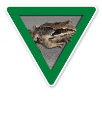 Verkehrsschild Vorsicht, Amphibienwanderung – Tierschutz (grün)