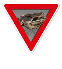 Verkehrsschild Vorsicht, Amphibienwanderung – Tierschutz (rot)