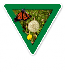 Verkehrsschild Vorsicht, Ausgleichsfläche – Naturschutz (grün)