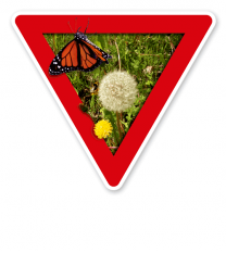 Verkehrsschild Vorsicht, Ausgleichsfläche – Naturschutz (rot)