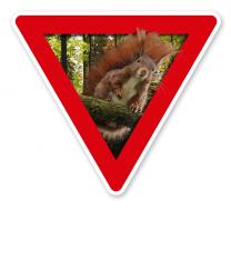Verkehrsschild Vorsicht, Eichhörnchen – Tierschutz (rot)