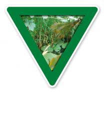 Verkehrsschild Vorsicht, Feuchtbiotop – Naturschutz (grün)