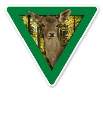 Verkehrsschild Vorsicht, Tierfütterung - Reh - Tierschutz (grün)