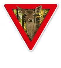 Verkehrsschild Vorsicht, Tierfütterung - Reh - Tierschutz (rot)
