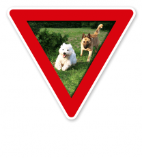 Verkehrsschild Vorsicht, Hundeauslauf - Hundeplatz (rot)