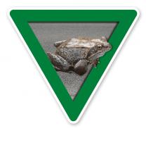 Verkehrsschild Vorsicht, Krötenwanderung – Tierschutz (grün)