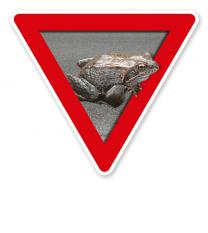 Verkehrsschild Vorsicht, Krötenwanderung – Tierschutz (rot)