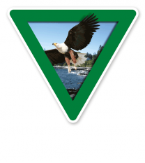 Verkehrsschild Vorsicht, Naturschutzgebiet – Adler (grün)