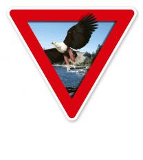 Verkehrsschild Vorsicht, Naturschutzgebiet – Adler (rot)