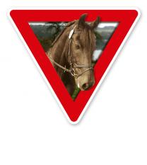 Verkehrsschild Vorsicht, Pferde (rot)
