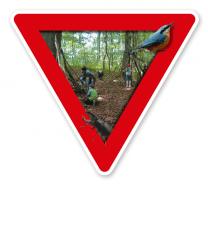 Verkehrsschild Waldkindergarten - Naturschutz (rot)