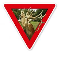 Verkehrsschild Vorsicht, Wildschutzgebiet - Tierschutz (rot)