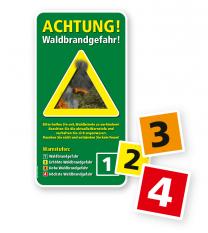 Warnschild Achtung, Waldbrandgefahr - mit auswechselbaren Warnstufenziffern – G/GW