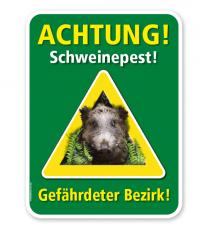 Warnschild Achtung, Schweinepest. Gefährdeter Bezirk – G/GW