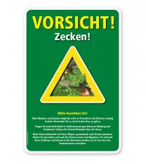 Warnschild Vorsicht, Zecken - mit Hinweisen – G/GW