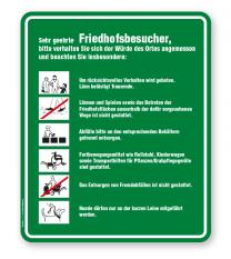 Friedhofsschild Sehr geehrte Friedhofsbesucher - Verhaltensregeln 6P - GF