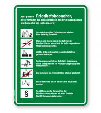 Friedhofsschild Sehr geehrte Friedhofsbesucher - Verhaltensregeln 7P - GF