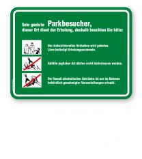 Schild Sehr geehrte Parkbesucher - Verhaltensregeln 3P - GF