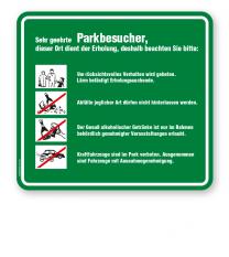 Schild Sehr geehrte Parkbesucher - Verhaltensregeln 4P - GF