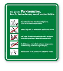 Schild Sehr geehrte Parkbesucher - Verhaltensregeln 5P - GF