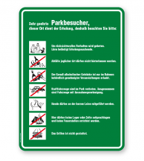 Schild Sehr geehrte Parkbesucher - Verhaltensregeln 7P - GF