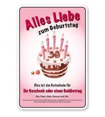 Schild Einladung / Gutschein Alles Liebe zum Geburtstag oder individuelle Inhalte – GP