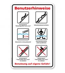 Schild Benutzerhinweise für Wasserrutschen – GS
