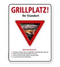 Schild Grillplatz - mit Hinweisen – G/GW