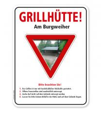 Schild Grillhütte - mit Hinweisen – G/GW