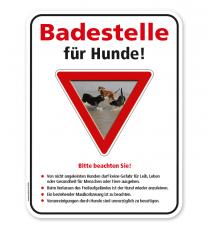 Schild Badestelle für Hunde mit Hinweisen – G/GW