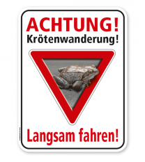 Tierschutzschild Achtung, Krötenwanderung. Langsam fahren – G/GW