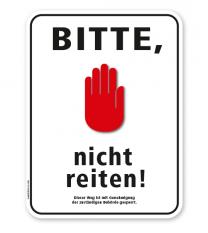 Schild Bitte, nicht reiten – G/GW