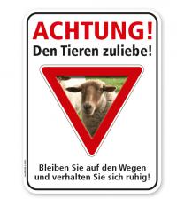 Schild Achtung, den Tieren zuliebe - Schaf – G/GW