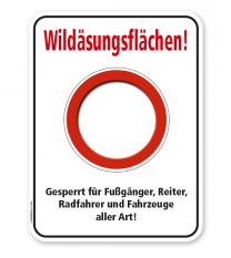 Forstschild Wildäsungsflächen. Gesperrt für Fußgänger, Reiter, Radfahrer und andere Fahrzeuge – G/GW