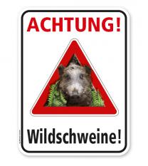 Warnschild Achtung, Wildschweine – G/GW