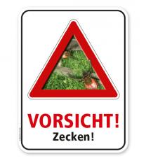 Warnschild Vorsicht, Zecken – G/GW