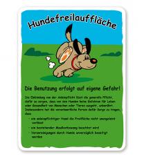 Hundeschild Hundefreilauffläche mit Regeln - H