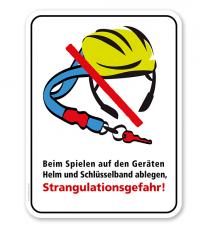 Spielplatzschild Gefahr durch Strangulation auf den Geräten – KSP-2