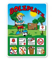 Spielplatzschild Bolzplatz - mit Bolzwand 8P - KSP-2